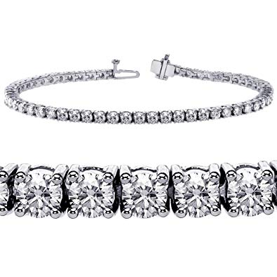 3.00ct [68] Round Brilliant Cut Tennis Bracelet set in 18kt White Gold