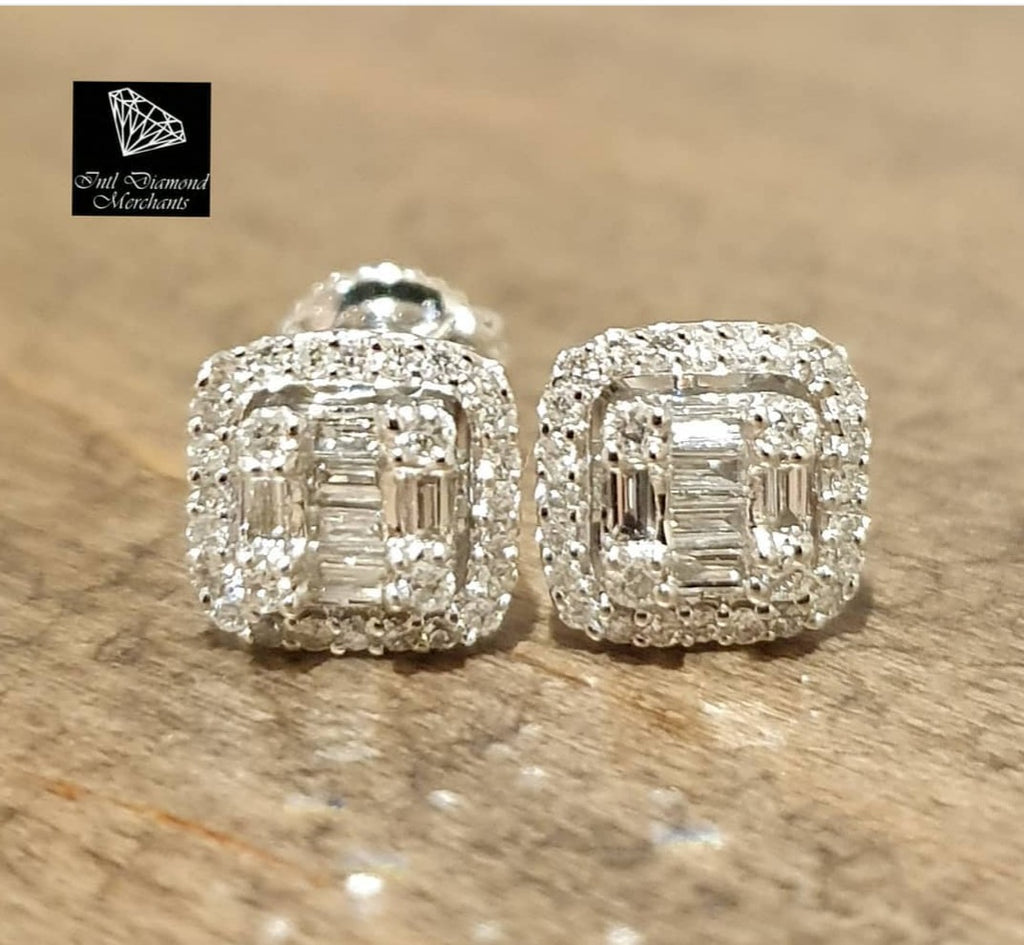 0.400ct Round and Baguette Cut Diamonds | Invisible Halo Design Earrings | 14kt White Gold