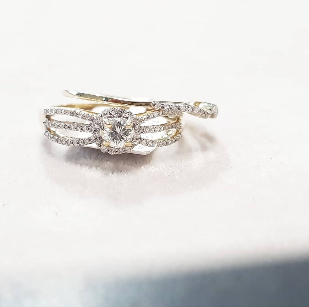 0.35ct Round Cut Diamonds | Bridal Twinset | 10kt Yellow Gold
