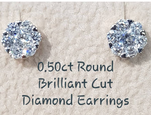 0.50ct round Brilliant Cut Diamonds | Cluster Design | 10kt Yellow Gold