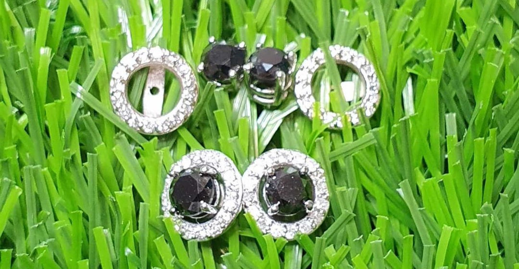 1.01ct [2] Round Black Diamonds | 0.32ct [32] Round Brilliant Cut Diamonds | Removable Halo Design | 9kt White Gold