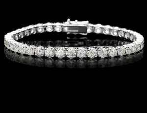 7.55ct [50] Round Brilliant Cut Diamonds | Tennis Bracelet | 18kt White Gold