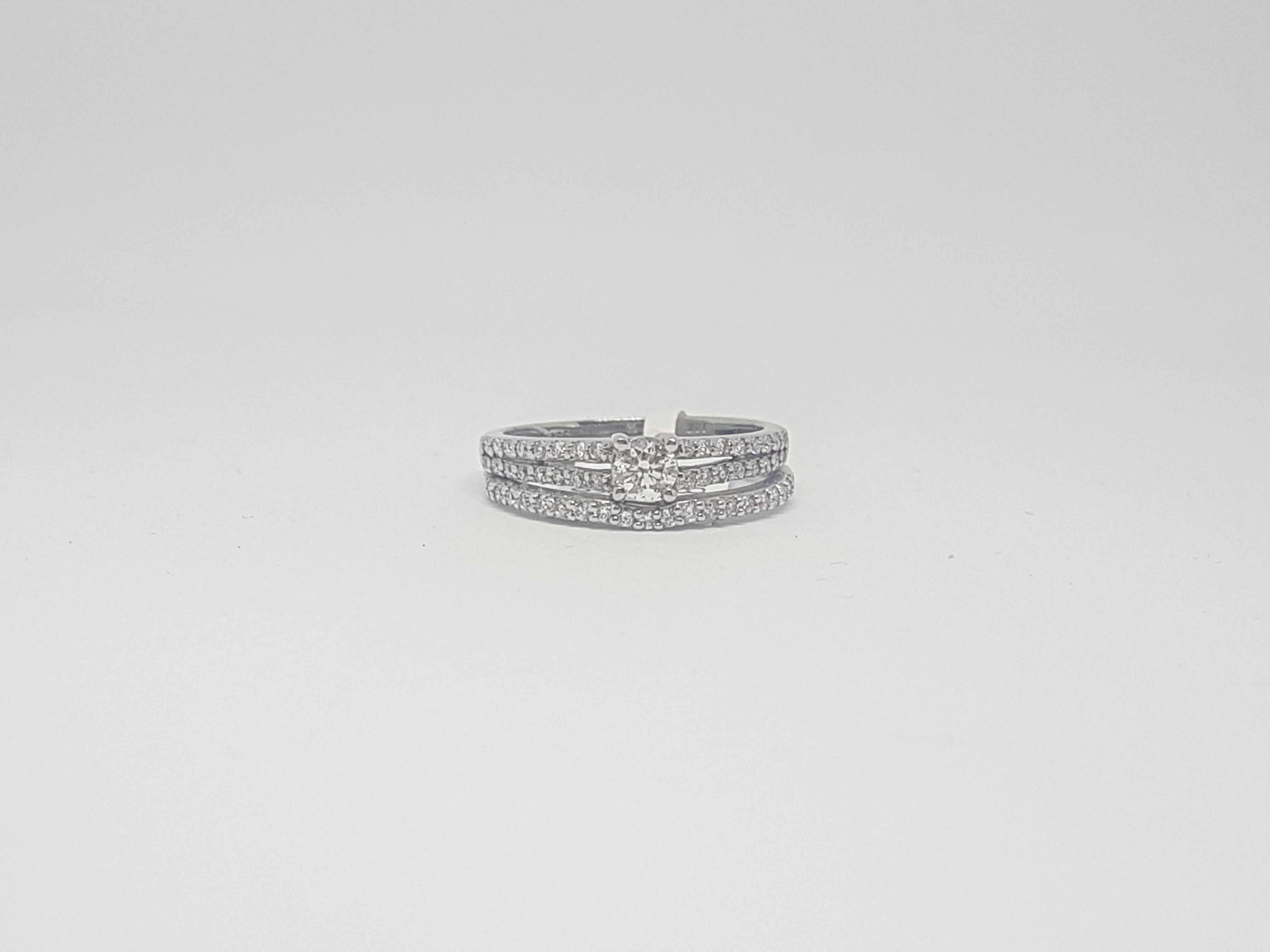0.63ct Round Brilliant Cut|Diamond Bridal Twinset| set in 14kt White Gold