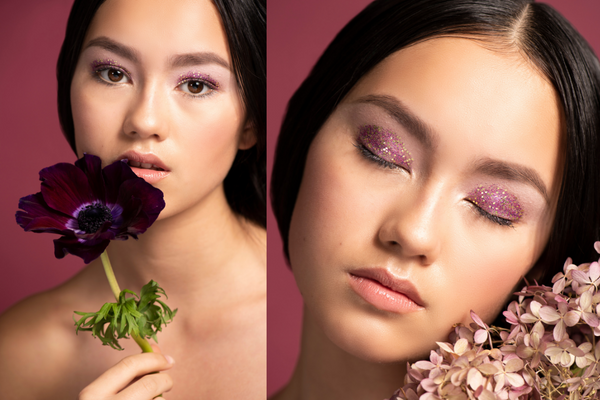 Soft pink eye makeup topped with sparkly pink glitter for naturally festive makeup for the holidays
