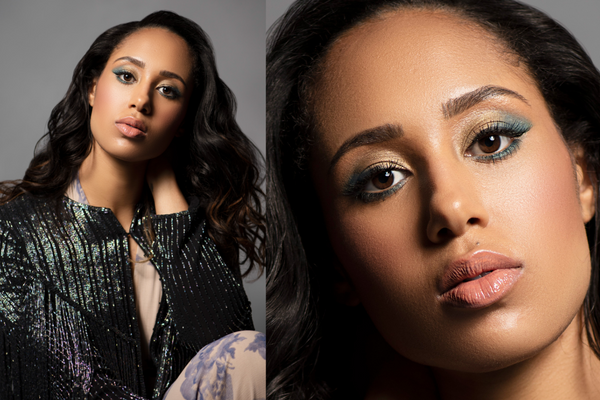 Margot Bingham side-by-side image of 2020 holiday style and makeup with gold and teal eyes