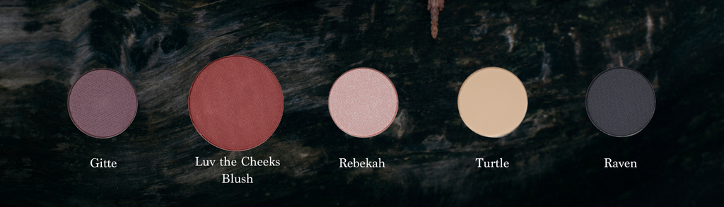 Five natural eyeshadow and blush refills on BC forest log