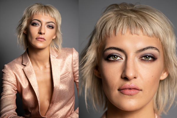 Model Willow wearing shiny pink blazer and soft purple eye makeup for a festive 2020