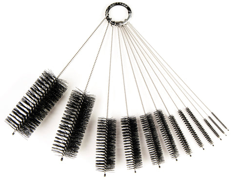8 Inch Nylon Tube Brush Set - Variety Pack (12 pieces)