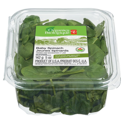 Large box of organic baby spinach