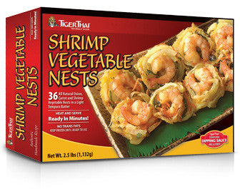 Shrimp and vegetables nests