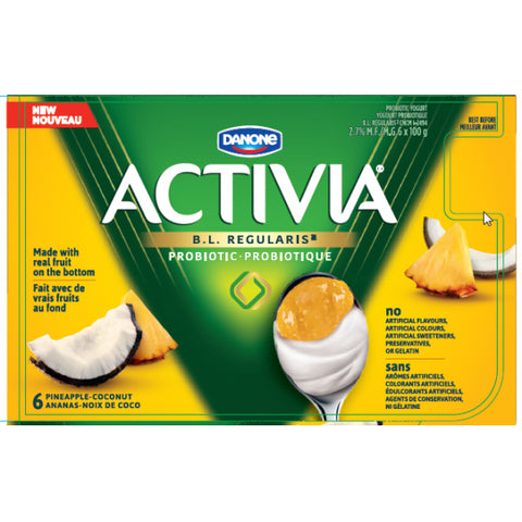 Activia Yogurt Coconut-PineApple Pack with Real Fruit on the Bottom