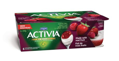 Activia Yogurt Strawberry-Raspberry Pack with Real Fruit on the Bottom