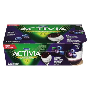 Activia Yogurt Blueberry Pack with Real Fruit on the Bottom