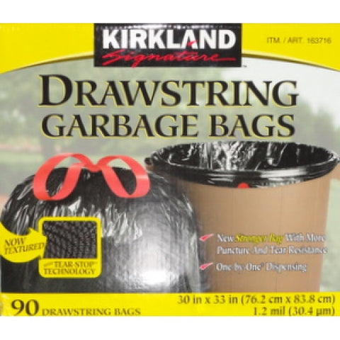 Kirkland Signature Garbage Bags With Drawstrings