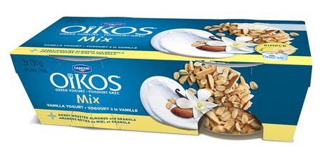 Oikos Greek 0% Yogurt Vanilla Pack with Honey-Roasted Almonds and Granola