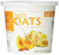 Love Grown Foods Hot Oats Peaches Vanilla and Almonds