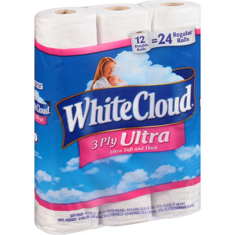 Toilet Paper White Cloud 3 Ply Ultra