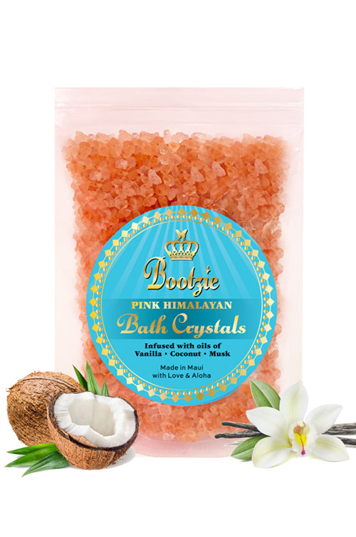 Pink Himalayan Bath Crystals Infused with Vanilla-Coconut-Musk