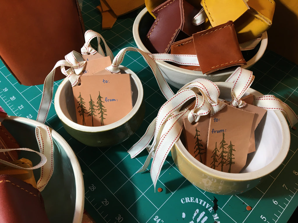 leather gift tags