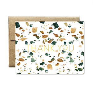 Foil Emerald Terrazzo Thank You Card - Boxed Set
