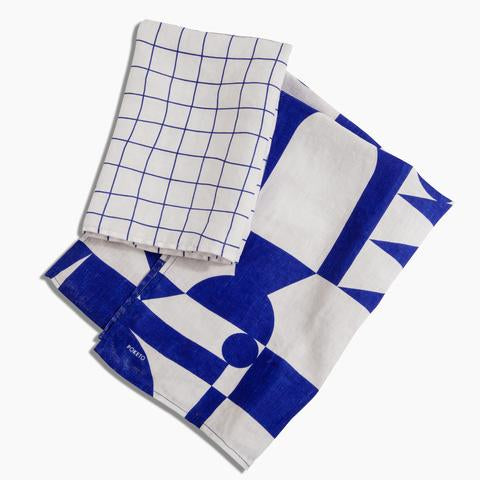 Blue Linen Tea Towel Set