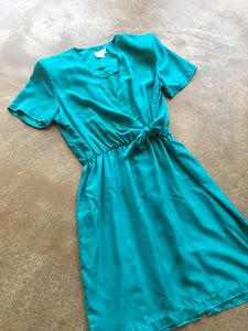 Blue-Green Silk Wrap dress