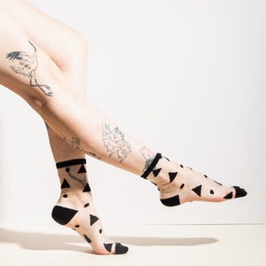 Black Triangle Sheer Socks