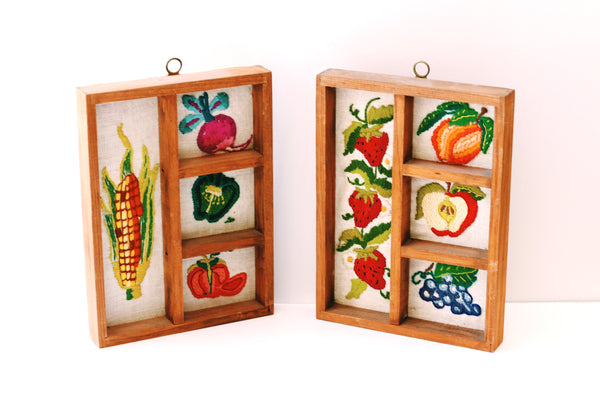 Vintage Framed Vegetables Embroidery