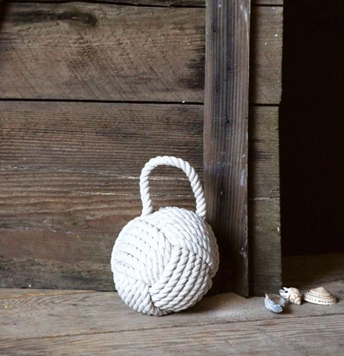 Rope Knot Door Stop - White