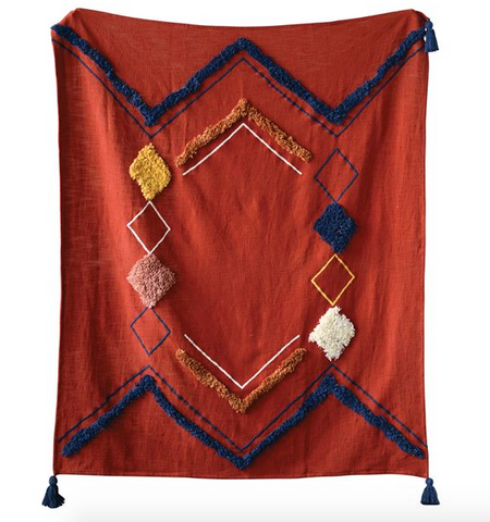 Cotton Embroidered Throw w/ Fringe