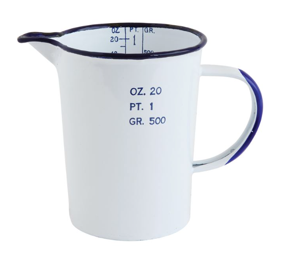 Enamel Pitcher - White w/ Blue Rim