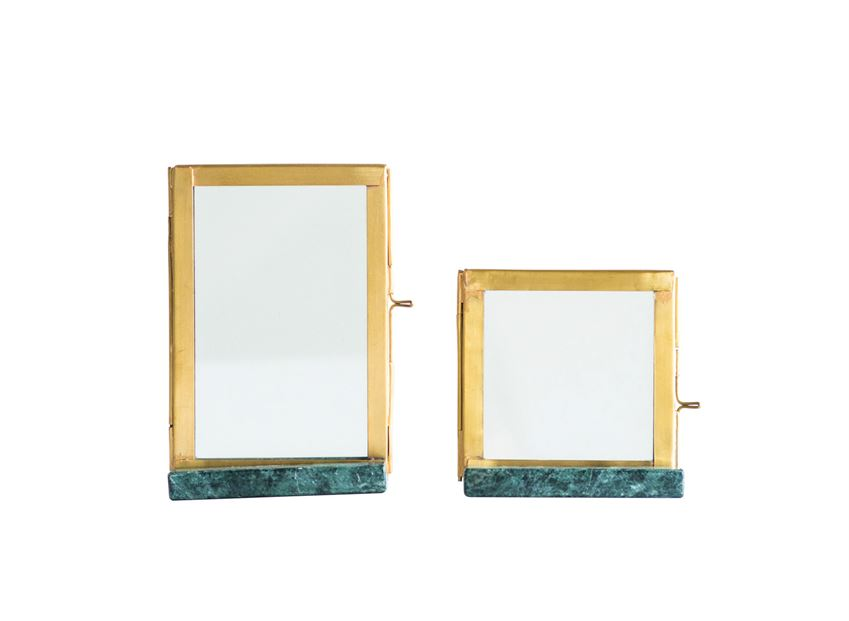 Green Marble & Brass Frame - 3x3