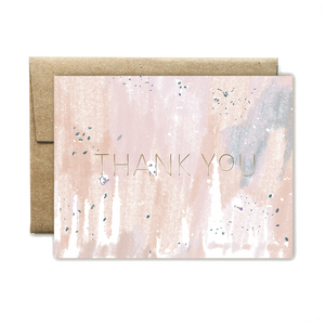 Foil Peach Concrete Thank You Card