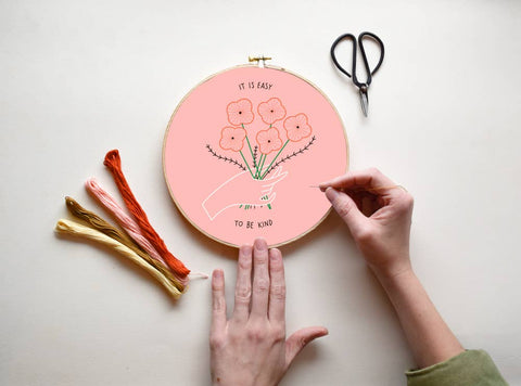 Easy To Be Kind - DIY Embroidery Kit