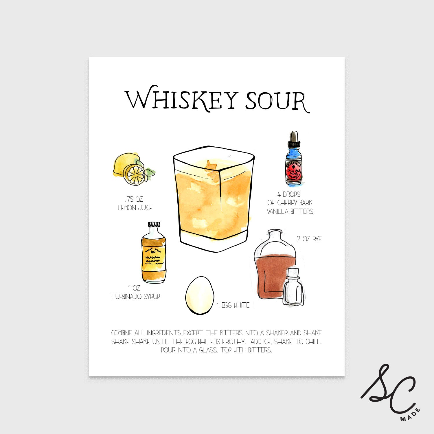 Whiskey Sour - Drink Print