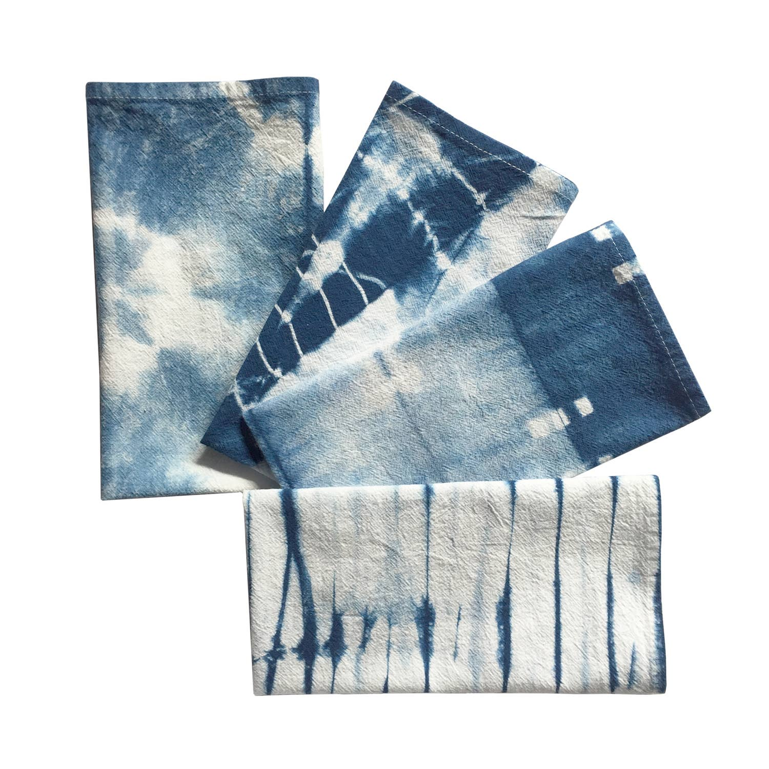 Indigo Dyed Shibori Cloth Napkins Set of 4