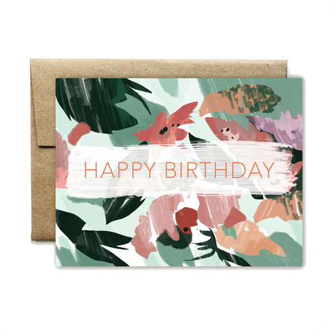 Pink Peach Floral Birthday Card