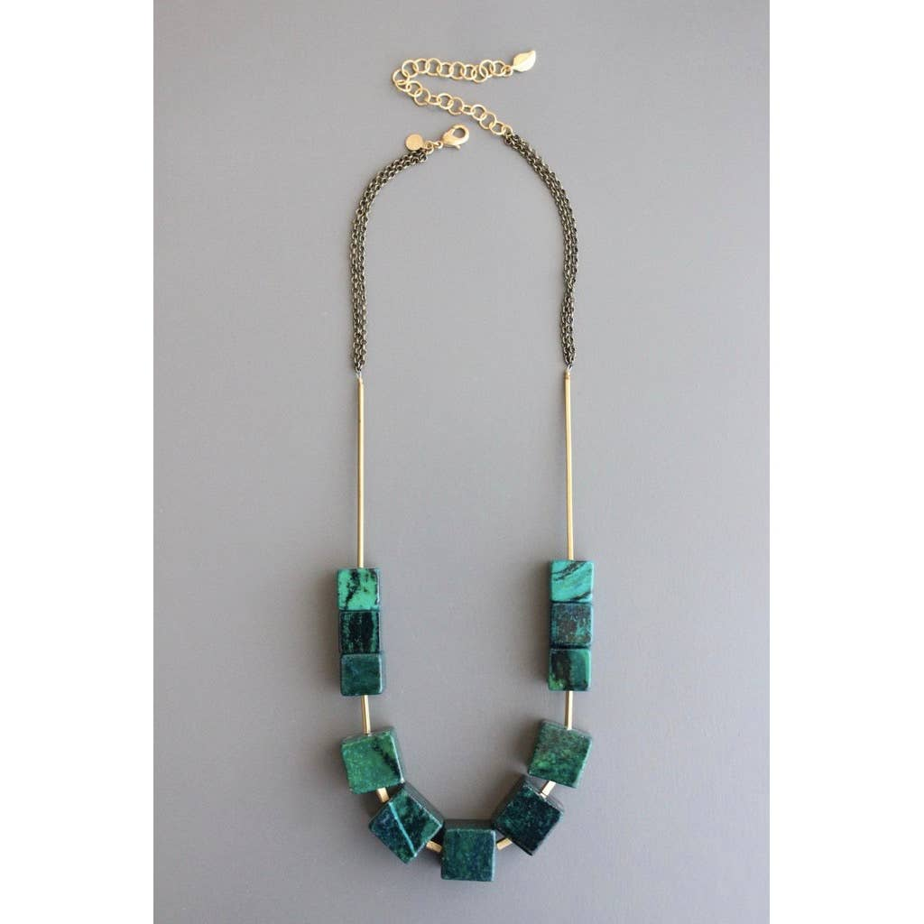 Magnesite + Brass Necklace