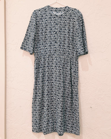 Navy Floral Dress - VC 07