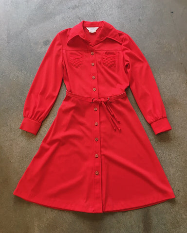 70s JC Penny's Belted Red Dress - VC 07