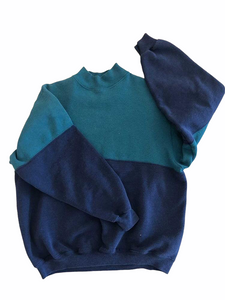 Color Block Mock Neck Sweatshirt- VC 08
