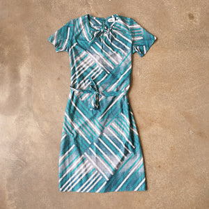 Vintage Coll. 03 - Teal Matchstick Print Dress