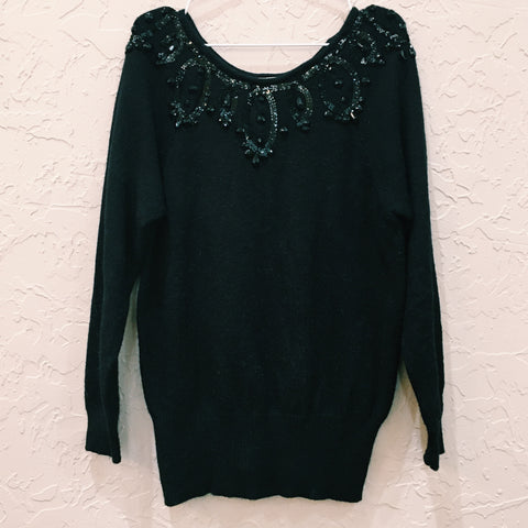 Black Sequin Collar Sweater - VC 07