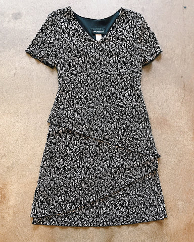 B+W Leaf Print Layered Dress - VC 07