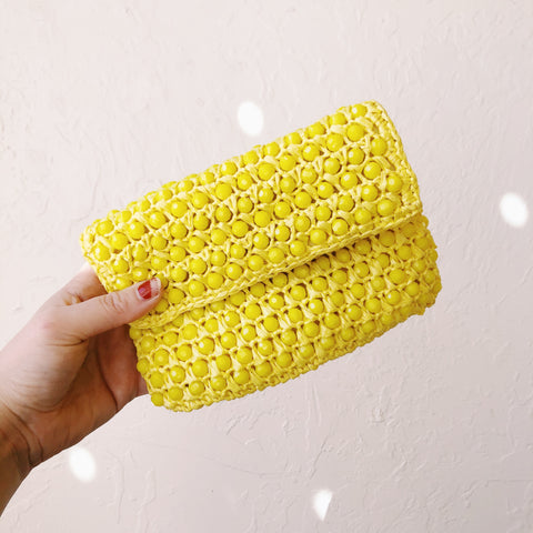 Yellow Beaded Clutch - VC 07