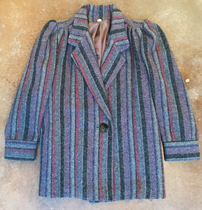 Vintage Coats - Gray Striped Wool Coat