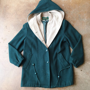 Vintage Coats - Forest Green Zip/ Button Coat