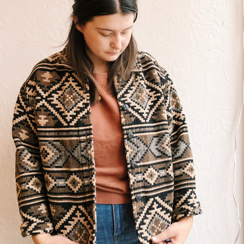 Vintage Coats - Black + Tan Patterned Jacket