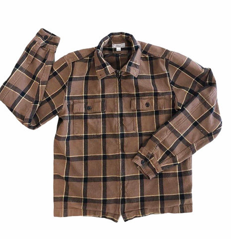 Brown Plaid Zip Up- VC 08