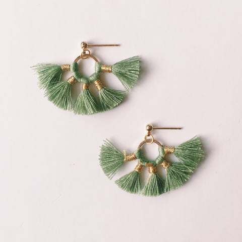 Green Tassel - Earrings